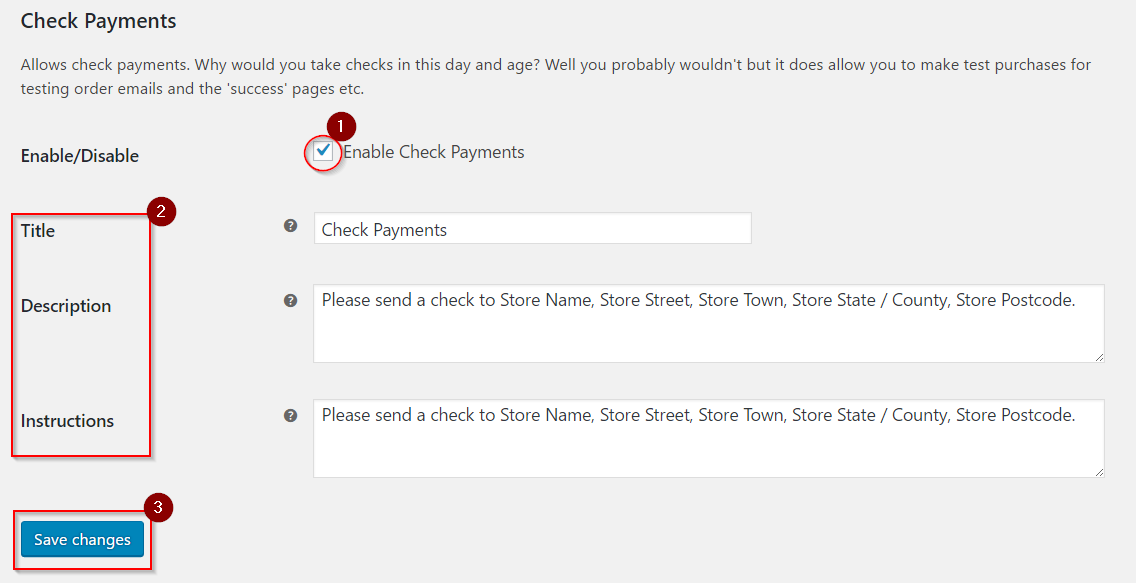 Setting up check payments