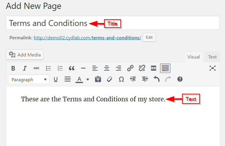 Editing Terms and Conditions page
