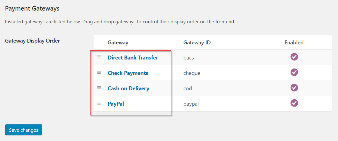 Sorting payment gateways