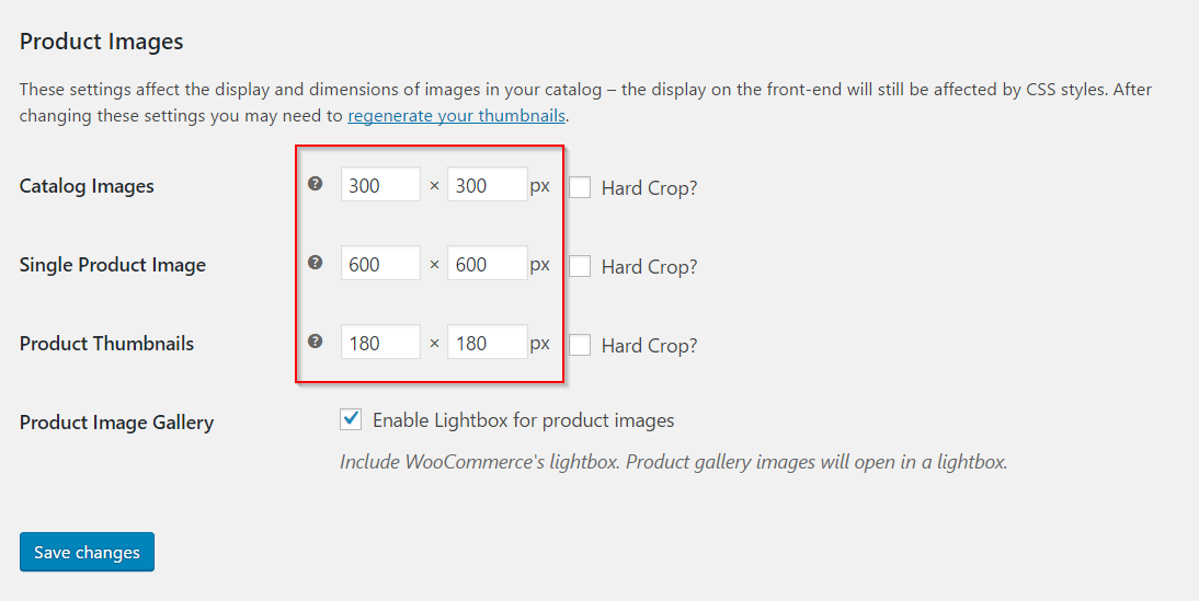 Setting product image sizes