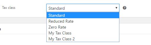 Setting tax class