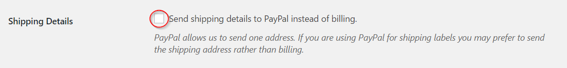 Sending shipping information to PayPal