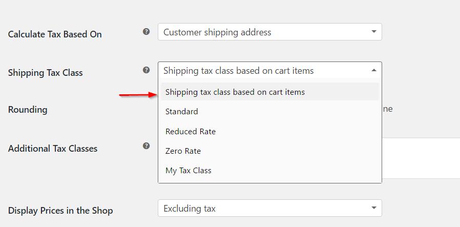 Setting shipping tax class