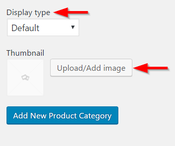Choosing display type and thumbnail for categories