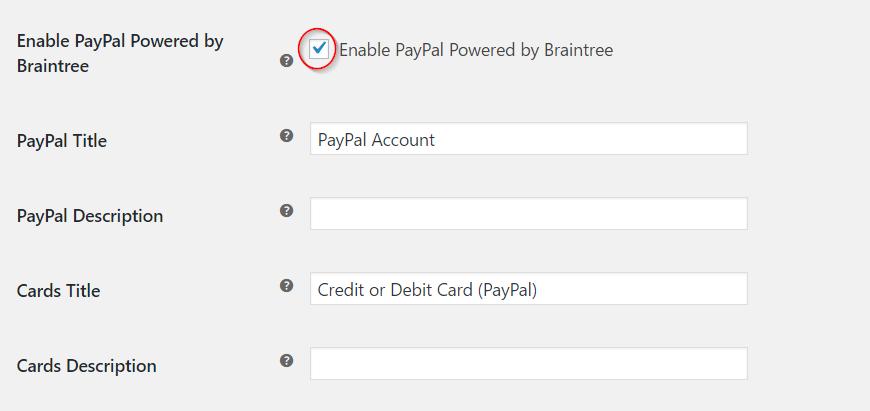 Enabling PayPal Powered by Braintree