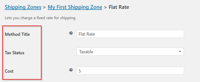 Flat Rate Settings