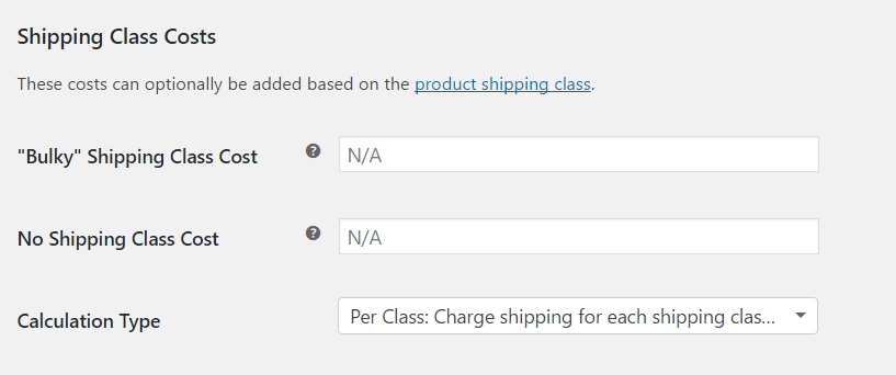 Flat rate for shipping class