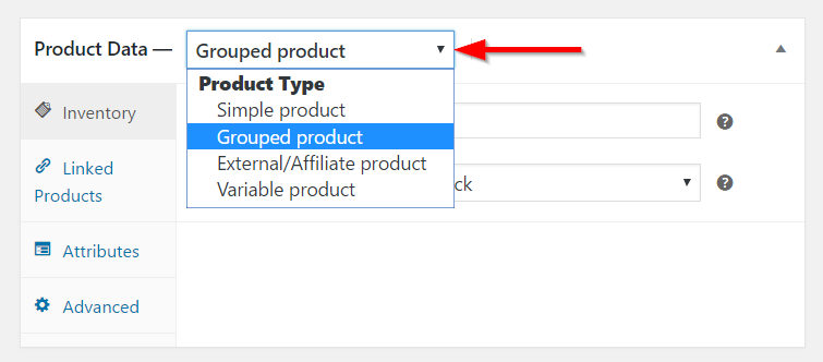 Selecting the product type
