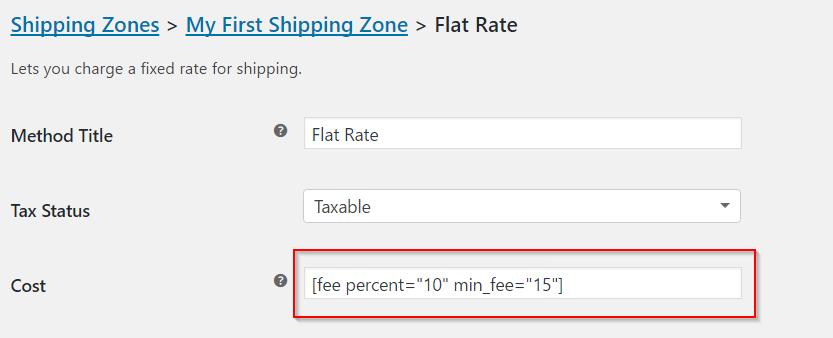Advanced cost settings