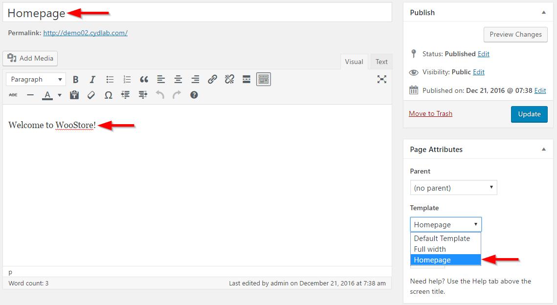 Creating homepage template
