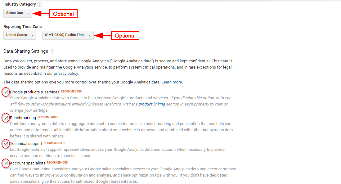 Optional data for Google Analytics Sign up