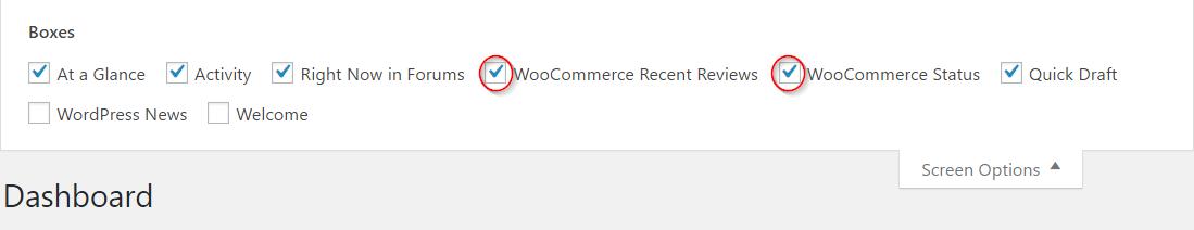 Choosing WooCommerce dashboard widgets