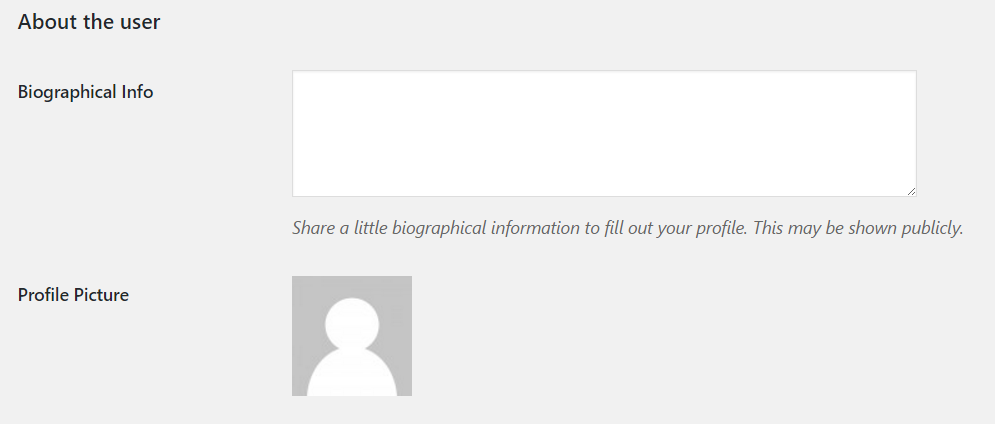 Editing user bio