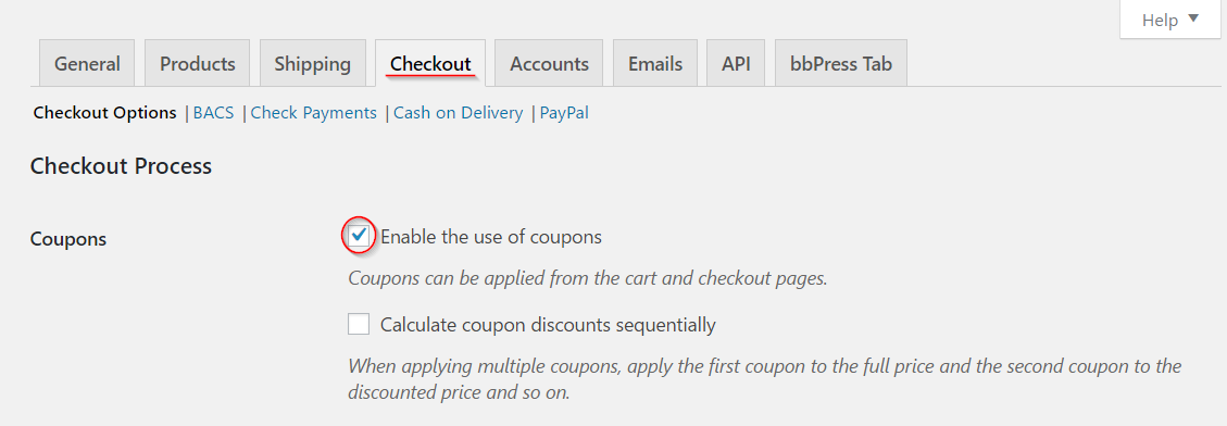 Woocommerce how to manage coupons on your store learnwoo enabling coupons fandeluxe Image collections