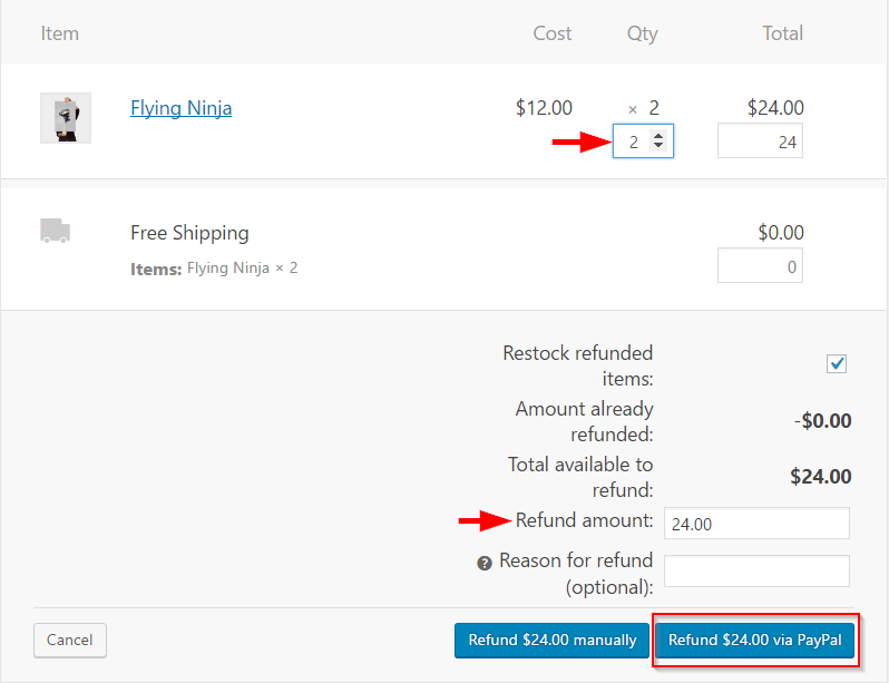 Processing automatic refund