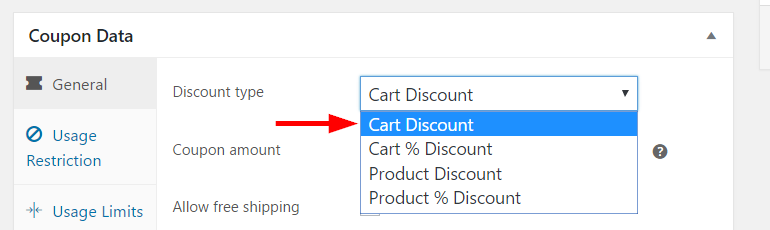 Setting discount type