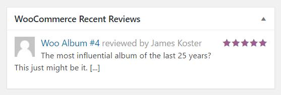 Woocommerce recent reviews widget
