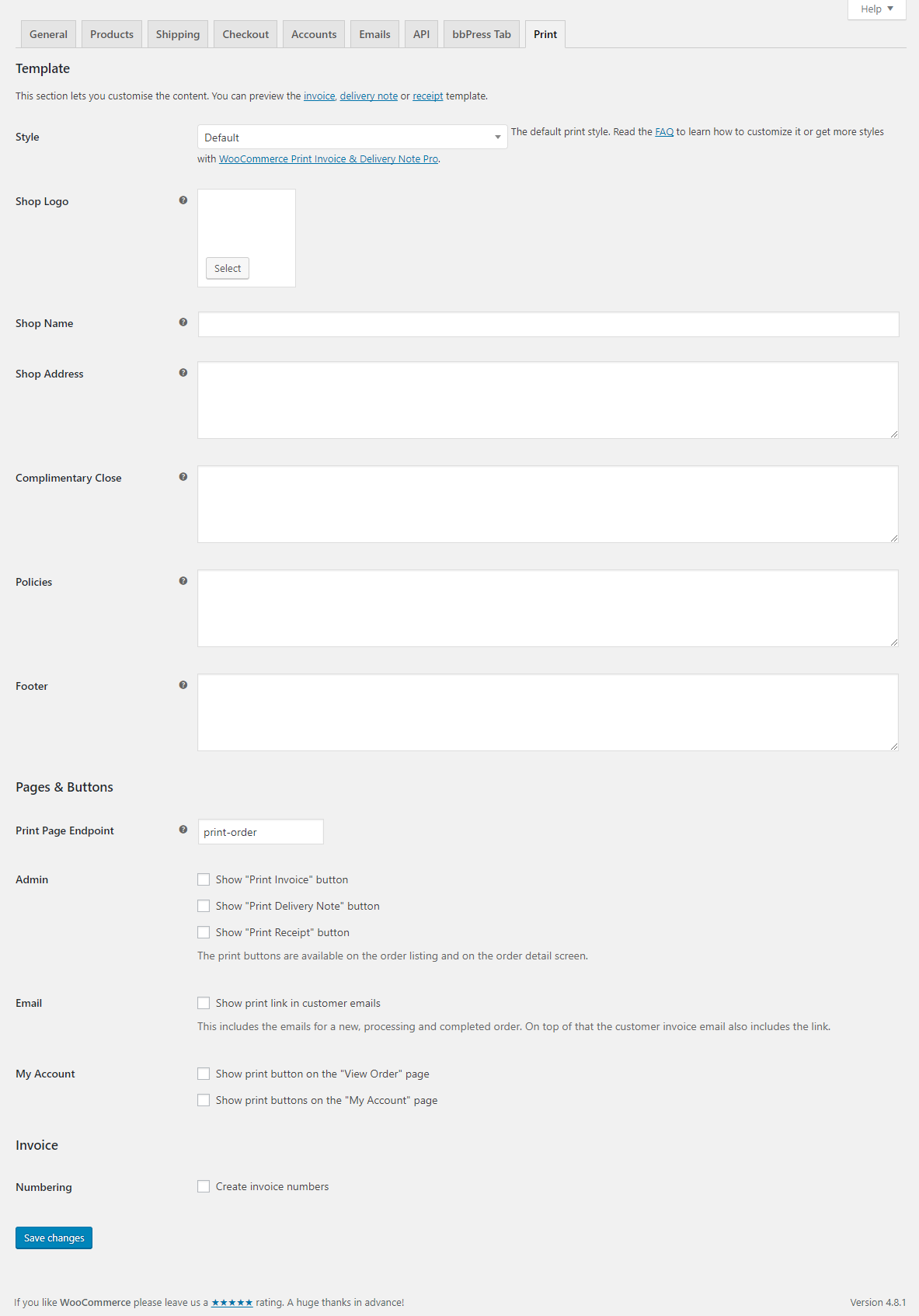 Settings Page  Invoice Shipping