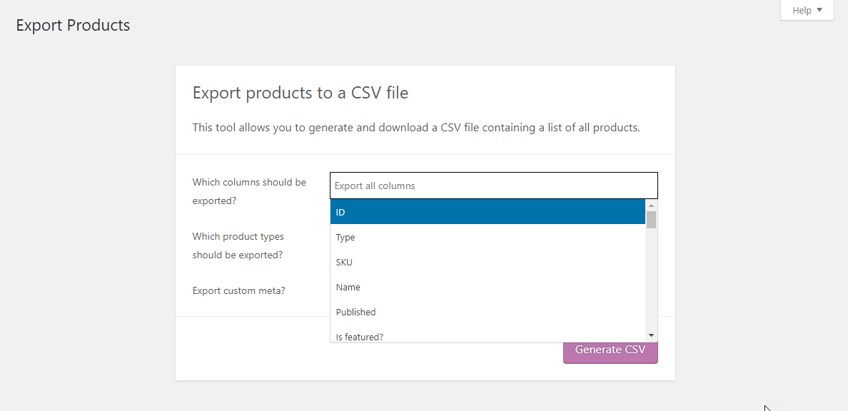 Choose columns and product types