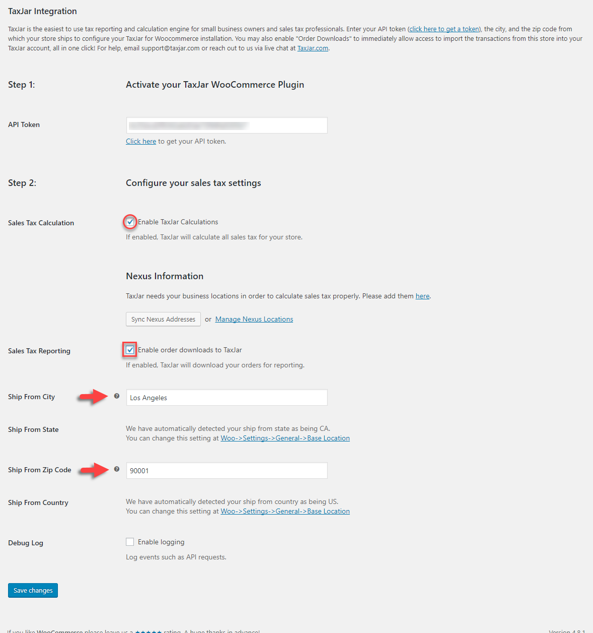 You need to enter some of the fundamental details here for TaxJar to work