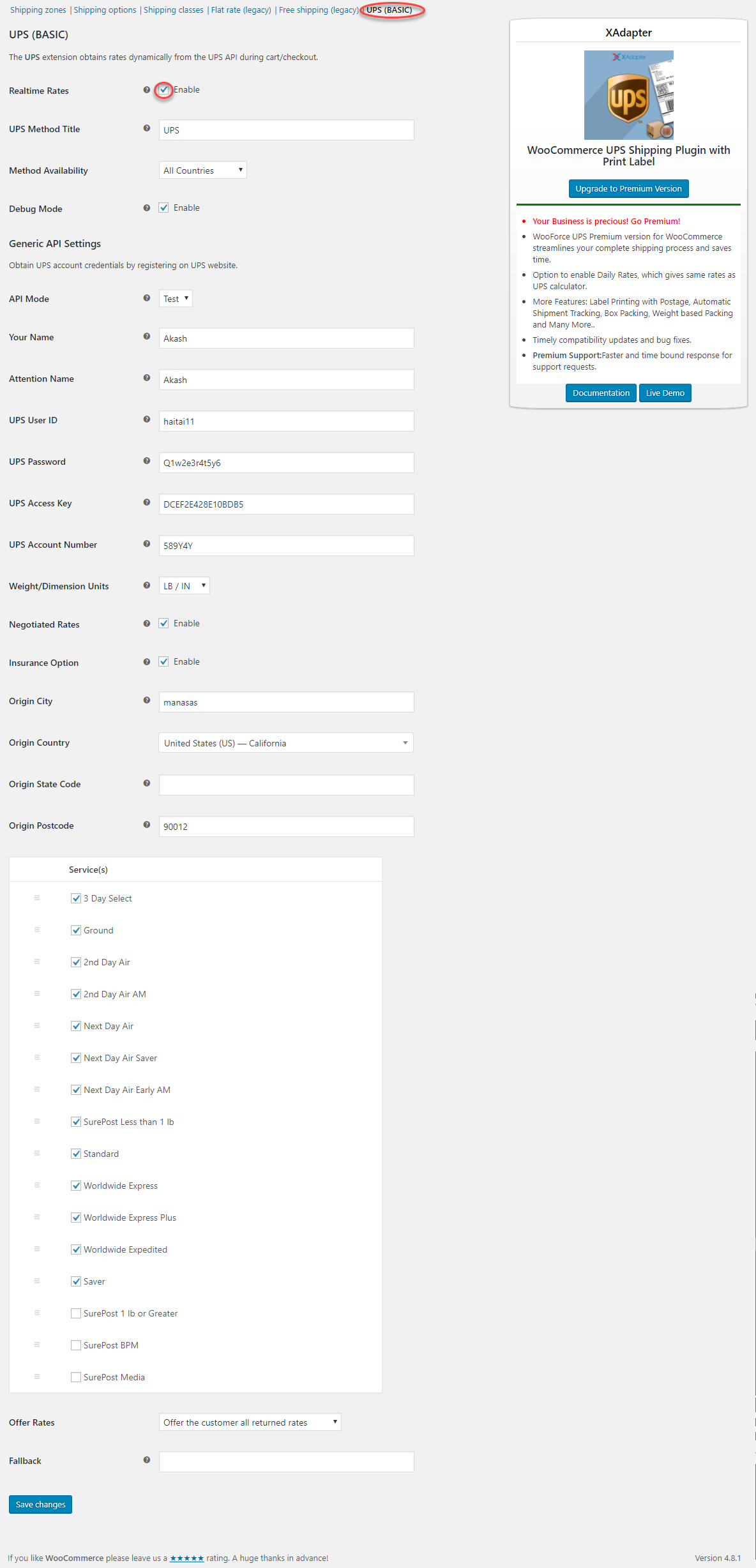 The settings page has options that determine how UPS rates are displayed on your site's frontend