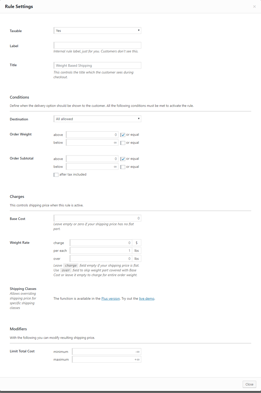 You can set up rules based on order weight, sub total and destination using this plugin