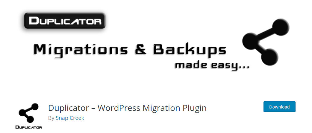 Duplicator is really popular for WordPress Backups and Migrations