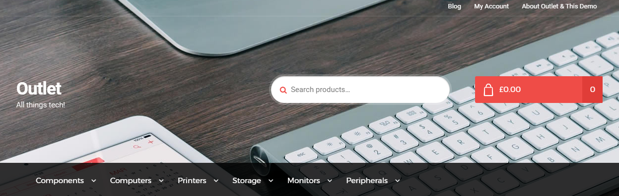 There are multiple design elements that go well with a tech store in this theme.