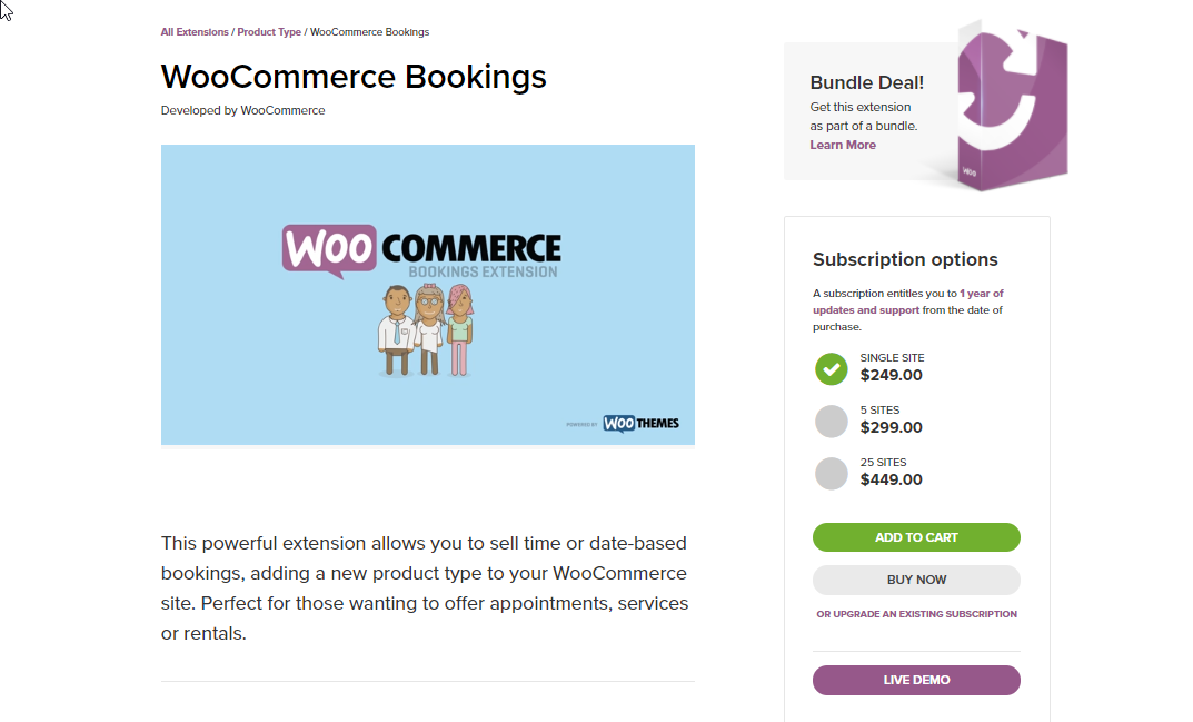 The WooCommerce Bookings extension is one of the best options to set up a booking system for your store.