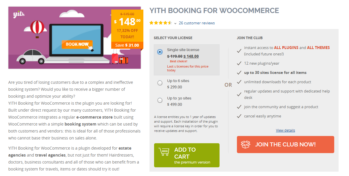 This plugin offers great scope in creating various booking options on your WooCommerce store