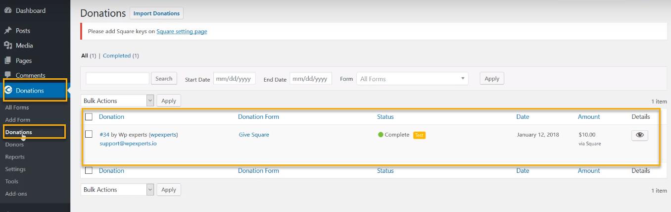 GiveWP Square Plugin
