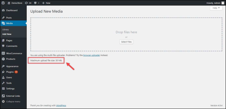 WordPress File Upload Size   Default file upload size