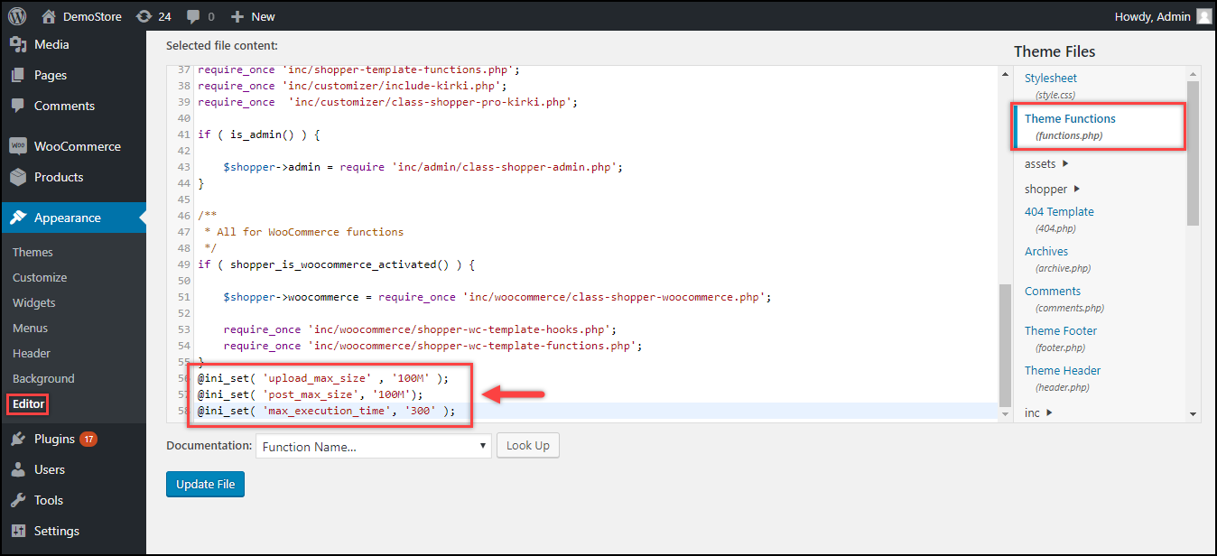 WordPress File Upload Size   Code added to functions.php file