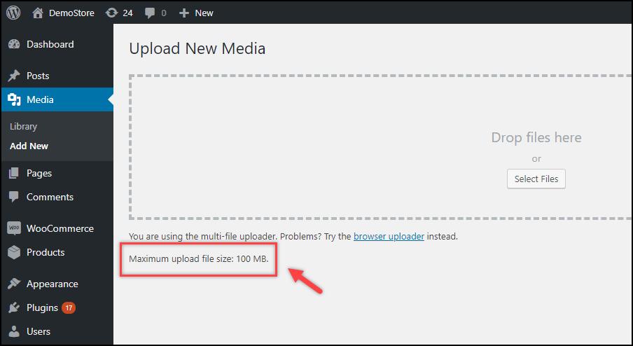 WordPress File Upload Size   Maximum File Upload Size Increased