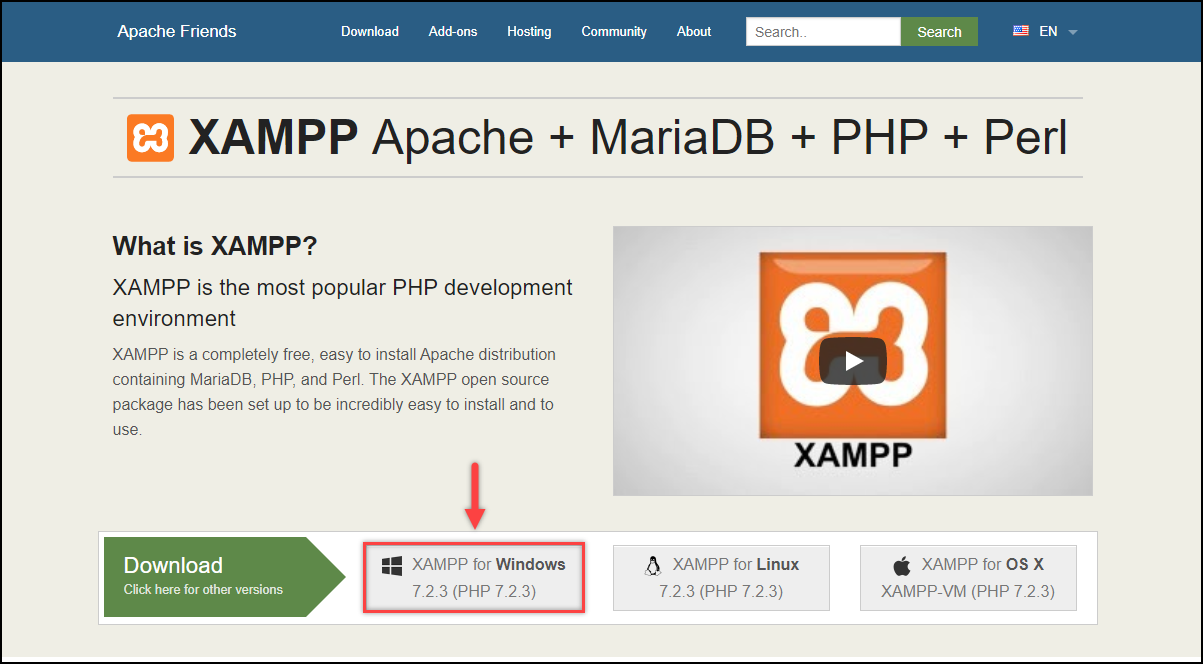 Installing WordPress | Downloading XAMPP for Windows