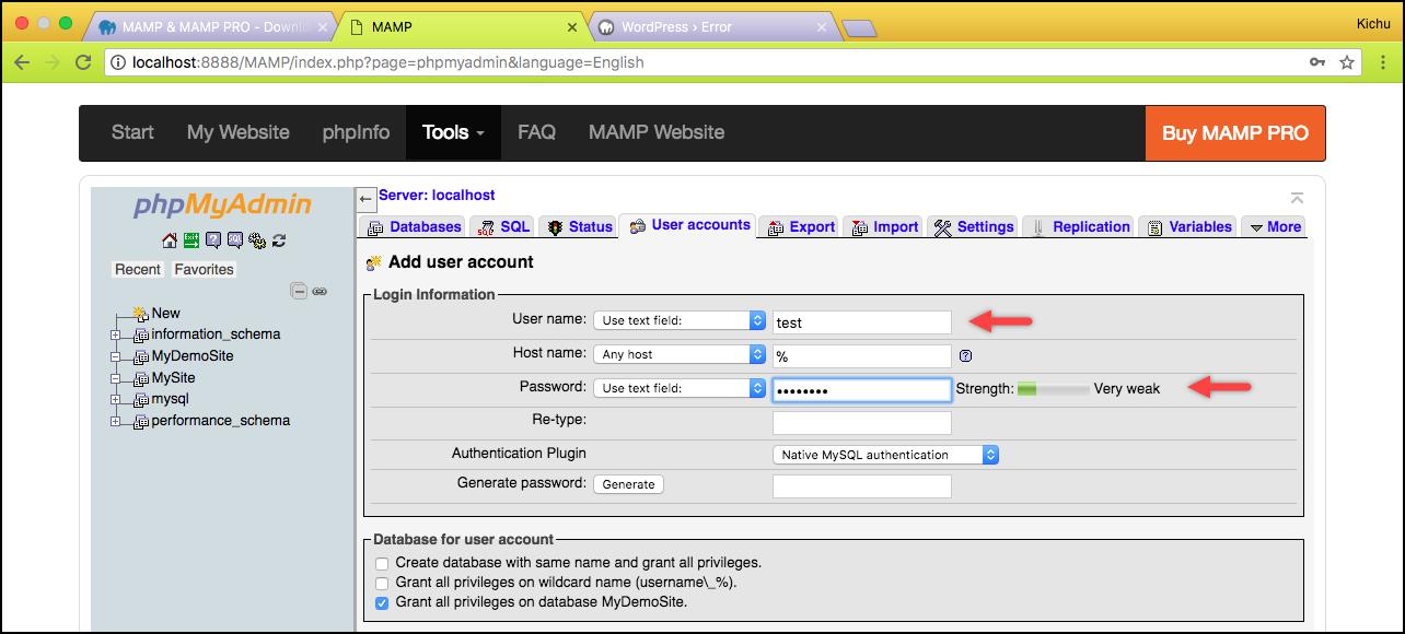 Installing WordPress | Database user credentials