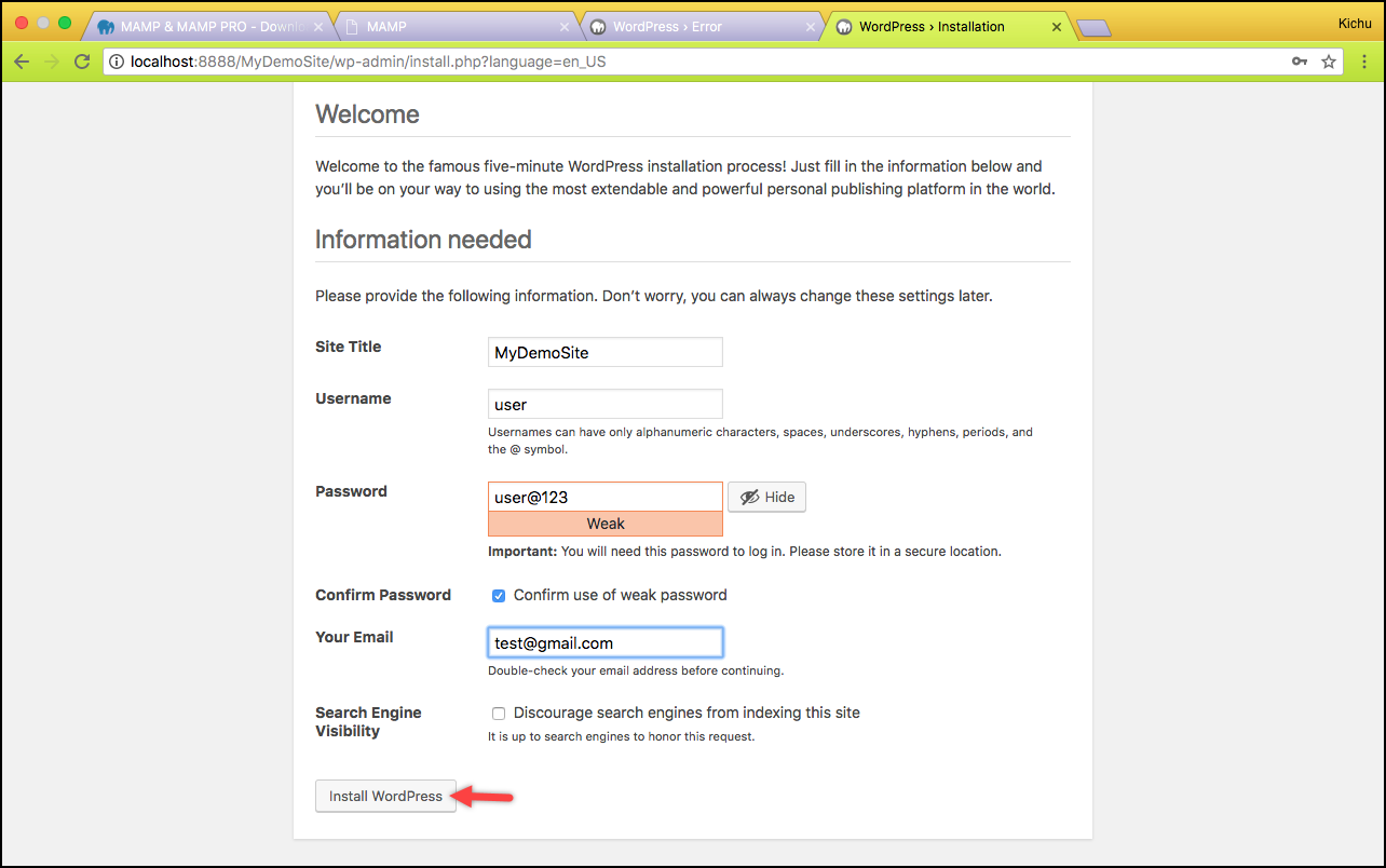 Installing WordPress on Mac | WordPress Quick Setup Wizard
