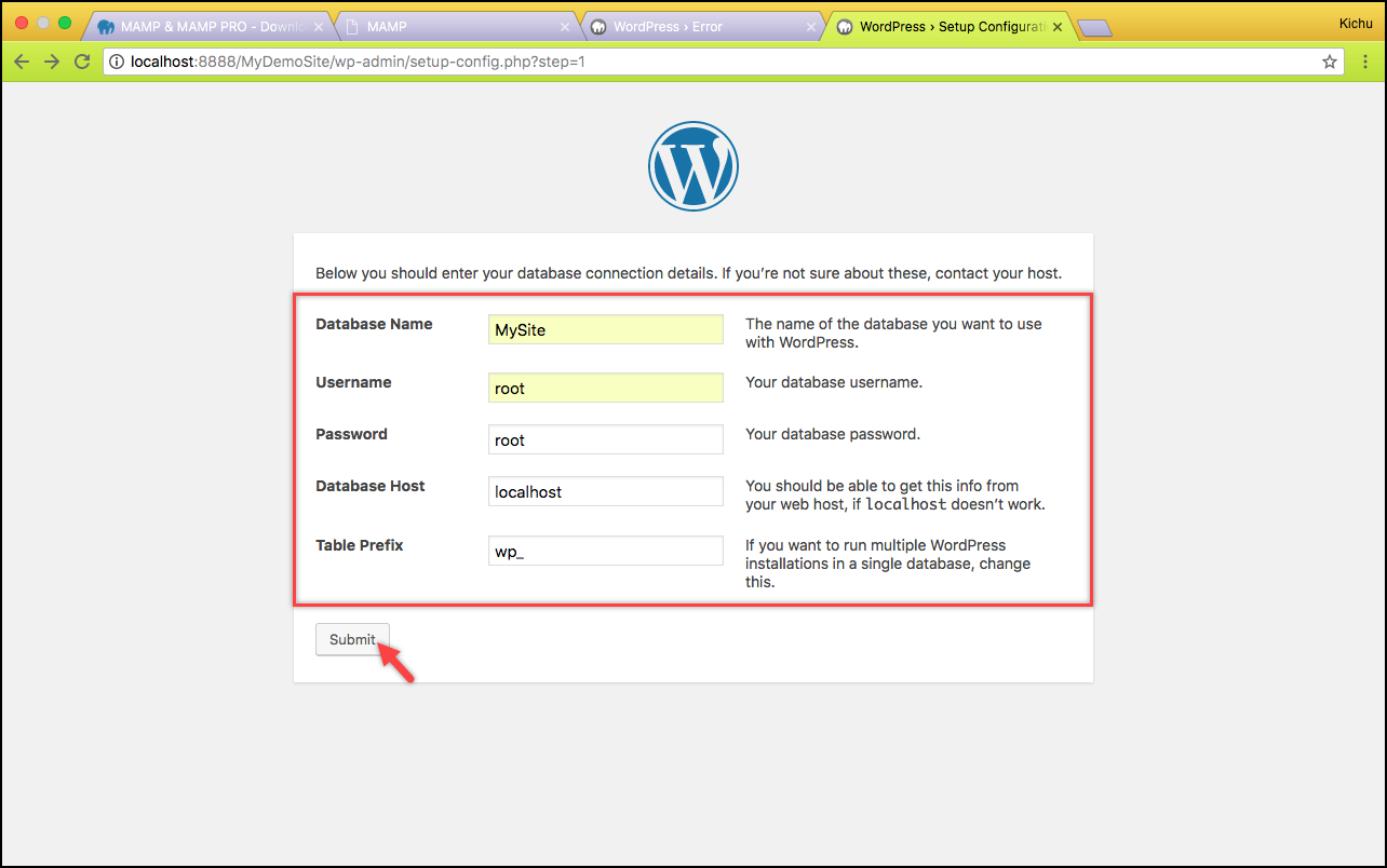 Installing WordPress on Mac | Database information submitted