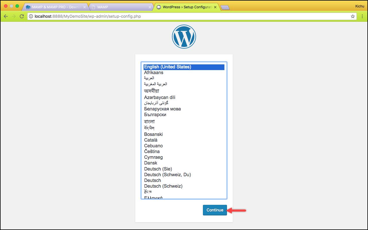 Installing WordPress on Mac | Selecting the desired language