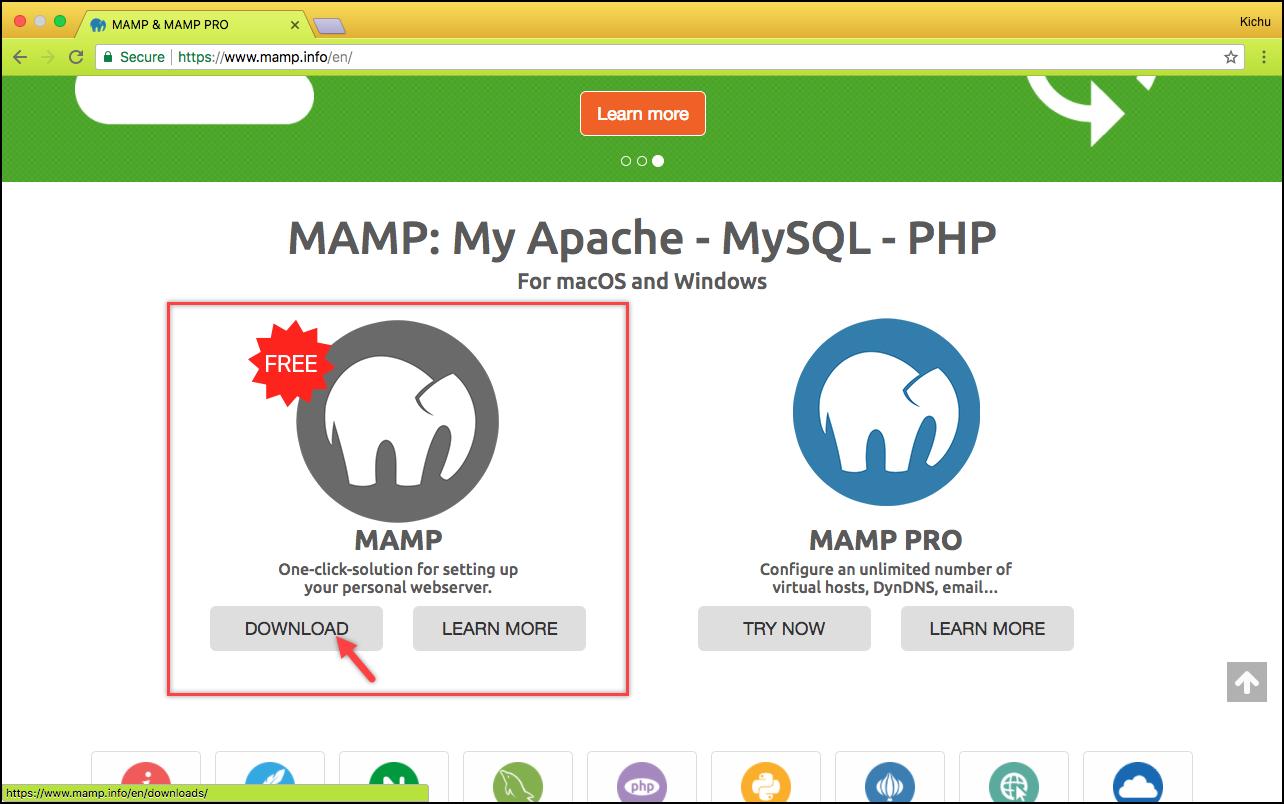 Installing WordPress | Selecting MAMP version