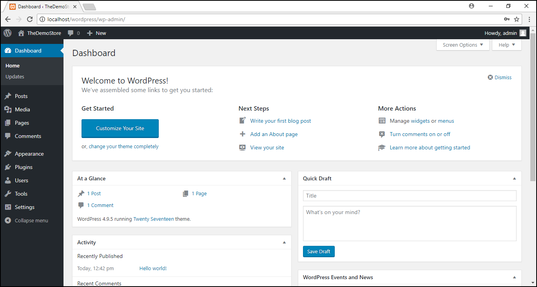 Installing WordPress on Windows | WordPress dashboard