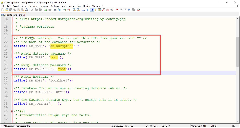 Installing WordPress on Windows | Manual database configuration