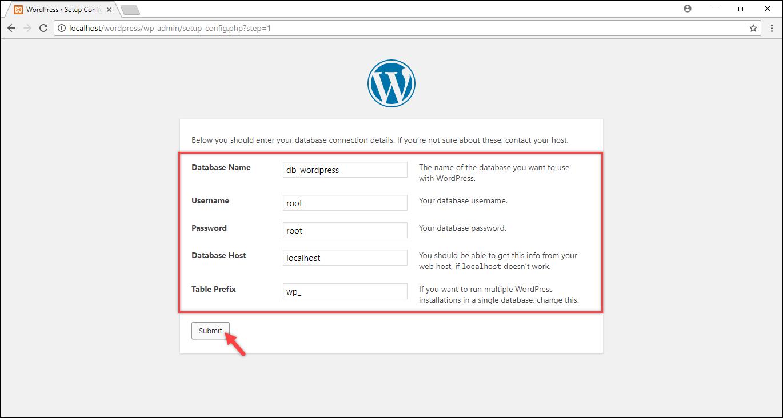 Installing WordPress on Windows | Database information submitted