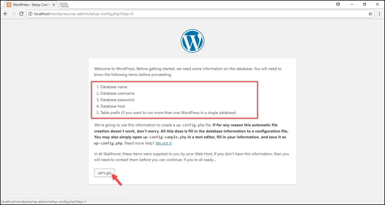 Installing WordPress on Windows | Required database information