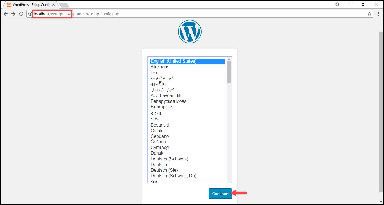 Installing WordPress on Windows | Selecting desired language