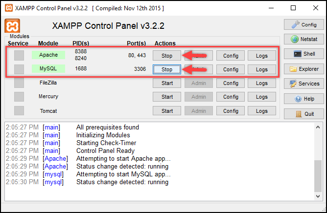 Installing WordPress | Starting Apache & MySQL in XAMPP