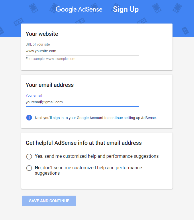 Image depicting the AdSense signup screen as the first step for WordPress AdSense integration