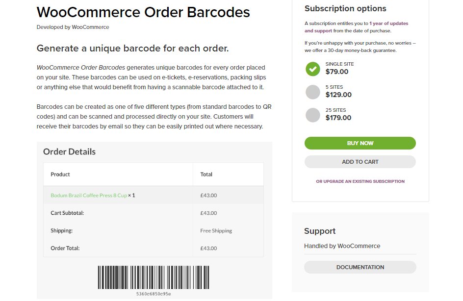 Screenshot for Order barcodes plugin included in the WooCommerce bookings plugin article