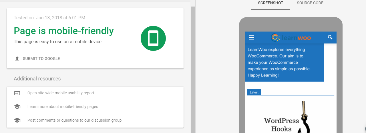 Scrrenshot with an example of Google Mobile-Friendly Test
