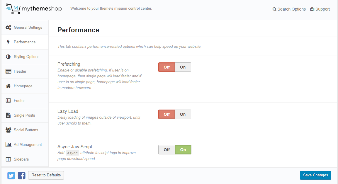 screenshot of the theme panel of Schema WordPress SEO theme
